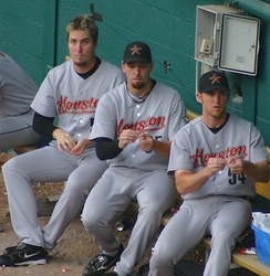Lidge (right) in 2005 with fellow Astros Chad Qualls and Dan Wheeler