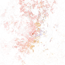 Map of racial distribution in Austin, 2010 U.S. Census. Each dot is 25 people: White, Black, Asian Hispanic, or Other (yellow)
