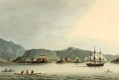 The Russian sloop of war Neva visits Kodiak, Alaska in 1805