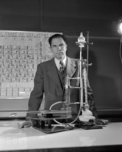 Seaborg in 1950, with the ion exchanger illusion column of actinide elements.