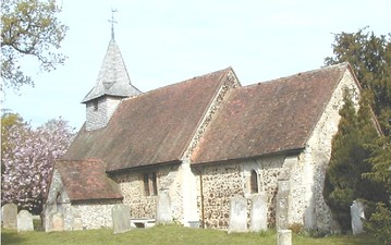 Example of a small village church in Pyrford, Surrey, England