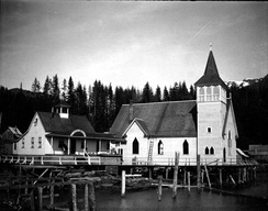 St John's Episcopal Church and a mission hospital, August 1904