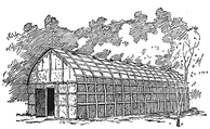 A traditional Iroquois longhouse.
