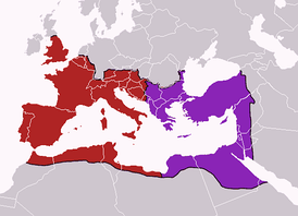 The division of the Empire after the death of Theodosius I, c. 395 AD, superimposed on modern borders.mw-parser-output .legend{page-break-inside:avoid;break-inside:avoid-column}.mw-parser-output .legend-color{display:inline-block;min-width:1.25em;height:1.25em;line-height:1.25;margin:1px 0;text-align:center;border:1px solid black;background-color:transparent;color:black}.mw-parser-output .legend-text{}  Western Court under Honorius   Eastern Court under Arcadius