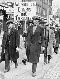 Unemployed men march in Toronto, Ontario, Canada.