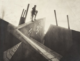 The visual style of German Expressionist films included deliberately distorted forms and shadows as seen here in The Cabinet of Dr. Caligari