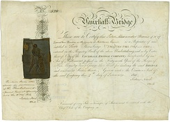 Share of the Vauxhall Bridge Company, issued 7. February 1815