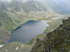 "Lake ""Veľké Hincovo pleso"" in High Tatras, Slovakia. The lake occupies an ""overdeepening"" carved by flowing ice that once occupied this glacial valley."