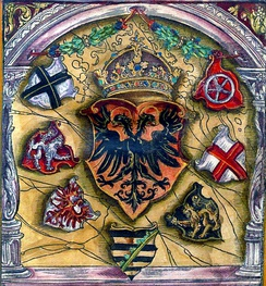 Coats of arms of prince electors surround the Holy Roman Emperor's; from flags book of Jacob Köbel (1545). Left to right: Cologne, Bohemia, Brandenburg, Saxony, the Palatinate, Trier, Mainz