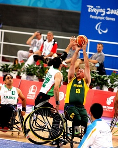 Wheelchair basketball: Iran vs South Africa at the 2008 Summer Paralympics.
