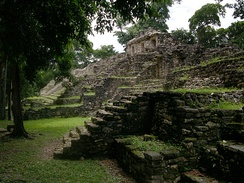 One of the pyramids in the upper level of Yaxchilán