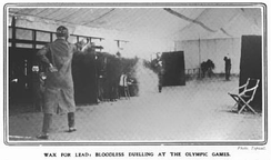 "Original caption: ""One of the most curious contests at the Olympic Games is the duelling with wax bullets. The combatants are as elaborately protected as a German student duellist, and even the revolver has a large hand-guard. The helmet has a plate-glass window."""