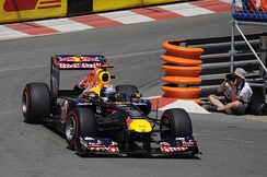After nine races, Sebastian Vettel had not finished lower than second. He is seen here taking his fifth victory of the season at the Monaco Grand Prix.