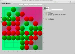 A 9×9 game with graphical aids. Colors and markings show evaluations by the computer assistant.