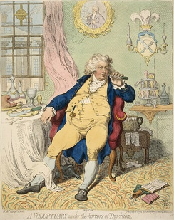 """A Voluptuary Under The Horrors of Digestion"": 1792 caricature by James Gillray from George's time as Prince of Wales"