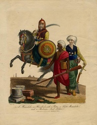 A Mamluk on horseback, with a Piéton or foot-soldier mamluk and a Bedouin soldier, 1804