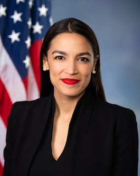 U.S. Representative Alexandria Ocasio-Cortez (NY), also known as AOC, representing parts of The Bronx and Queens, became at age 29, the youngest woman ever to be elected to Congress in November 2018.