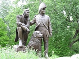 Lewis and Clark statue (with Seaman (dog)) in St. Charles, Missouri