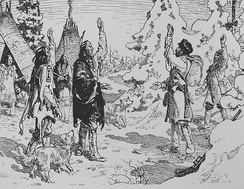 The arrival of Radisson in an Amerindian camp in 1660