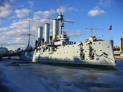 Russian cruiser Aurora moored at the source of Great Nevka