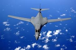 A USAF B-1B over the Pacific Ocean.