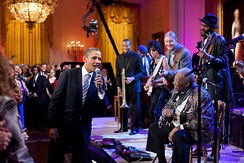 "President Obama and King singing ""Sweet Home Chicago"" on February 21, 2012"