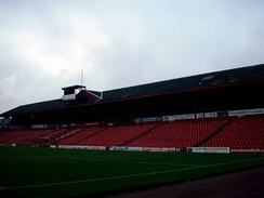The historic West Stand at Oakwell Stadium is over 100 years old