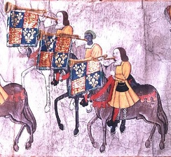 Extract from the Westminster Tournament Roll almost certainly showing John Blanke, the only figure wearing a brown turban latticed with yellow.