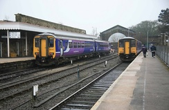 A Class 156 and a Class 150/2 unit at Buxton station, the line's southern terminus.