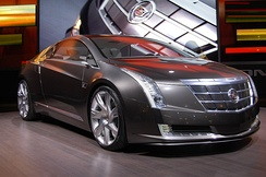 The Cadillac Converj, unveiled at the 2009 North American International Auto Show, shares the Volt's Voltec powertrain.