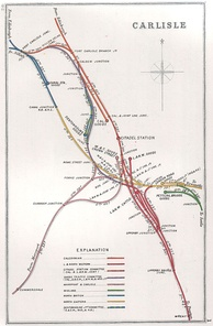 A 1912 Railway Clearing House Junction Diagram showing railways in the vicinity of Carlisle (shown here as CITADEL STATION)