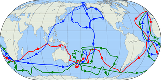 The routes of Captain James Cook's voyages. The first voyage is shown in red, second voyage in green, and third voyage in blue.