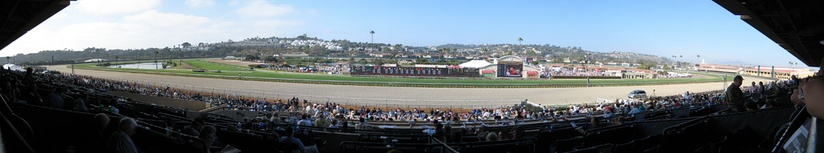 Panoramic view of the Del Mar Racetrack from the grandstand