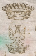 Comital ephemera: a Count's coronet and crest on a doily.