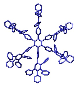 Structure of a polyphenylene dendrimer macromolecule reported by Müllen, et al.[15]