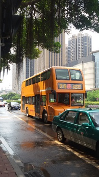 A double-decker bus in Guangzhou