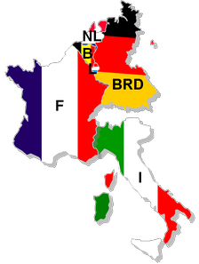 France, West Germany, Italy, Belgium, Luxembourg and the Netherlands form the European Coal and Steel community, the foundation organization which would become the European Union.