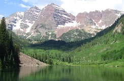 The Elk Mountains near Aspen, Colorado showing the Maroon Bells
