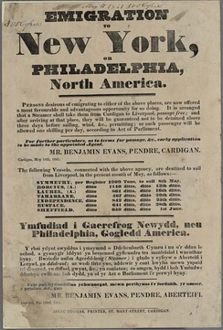 An 1841 poster advertising passage to America, written in English and Welsh