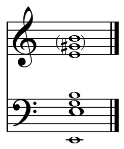 The principal harmonics of the Erfurt bell (1497)[19] typical of a harmonically-tuned bell:[20] strike note is E, with hum note an octave below, minor third, fifth, nominal above, and major third and perfect fifth in the second octave.