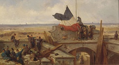 Hoisting the German Flag at Fort Vanves on 29 January 1871 by Eugen Adam