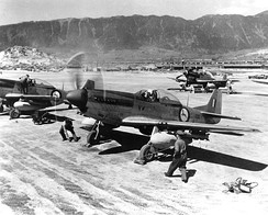 North American F-51D Mustang fighters of No. 2 Squadron of the South African Air Force in Korea, on 1 May 1951.