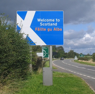 Scotland welcomes arrivals on the A7, Fàilte gu Alba
