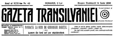 "Nameplate of Gazeta Transilvaniei on June 14, 1936, with FR logo and a condemnation of the ""Judaeo-communist"" press, including Adevărul"