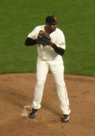 A man standing on a pitching mound wearing a San Francisco Giants' uniform