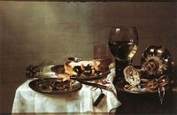 Willem Claeszoon Heda, Breakfast Table with Blackberry Pie (1631); Heda was famous for his depiction of reflective surfaces.