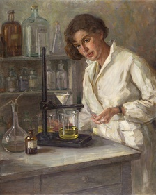 An oil painting of a chemist (by Henrika Šantel in 1932)