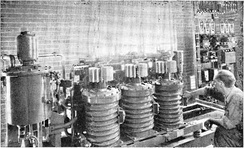 Ignitron rectifiers powering industrial process, 1945