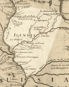 Illinois in 1718, approximate modern state area highlighted, from Carte de la Louisiane et du cours du Mississipi by Guillaume de L'Isle.[27]