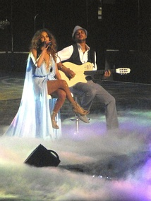 "Lopez during a stripped-down performance of ""If You Had My Love"" (acoustic version)."